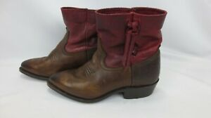 Frye Women's Boots size 6 ankle brown & cognac red distressed leather $34.00
