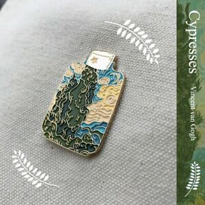 Cypress Trees Van Gogh Painting Soft Enamel Badge Brooch Pin Collection Limit N