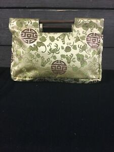 WA Gold Sage Oriental Print Silk Clutch Bag SVDP724