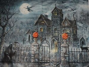 Haunted Scary Halloween Uninvited Guest 100% Cotton Fabric Panel 34.5quot;x43quot;