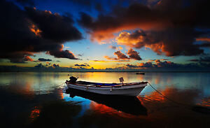 Framed Print - Small Motor Boat on a Dark Fishing Lake (Picture Poster Art)