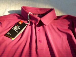 NWT Under Armour Heat Gear loose fit Golf polo, men's XXL, maroon with stripes $29.99