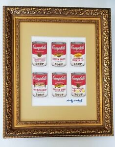 ANDY WARHOL ORIGINAL 1984 SIGNED 6 CAMPBELL'S SOUP MATTED TO BE FRAMED AT 11X14 $125.00