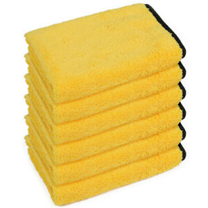 Set of 6 Large Thick Microfiber Towel Soft Plush Car Wash Drying Cleaning Cloth