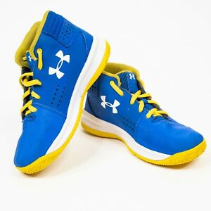Under Armour Shoes Kids Size 1.5Y Blue Yellow Basketball Shoes 1296010 400 $18.99