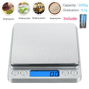 2000gx0.1g Electronic Digital Kitchen Food Cooking Weight Balance Scale Accurate $10.88