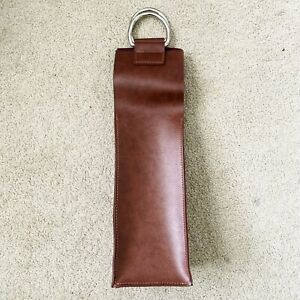 Leather Wine Bottle Bag Tote Carrier Travel Portable Cover Holder Handle Brown
