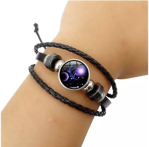 Zodiac Constellation Horoscope Leather Bracelet