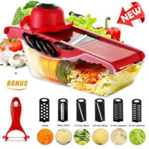 7 in 1 Vegetable Slicer Potato Fruit Cutter Stainless Steel Mandoline Kitchen US