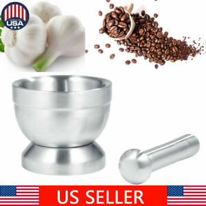 Mortar and Pestle Set Stainless Steel Grind Food Herbs and Spice Grinder Home
