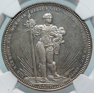 1879 SWITZERLAND Basel ANTIQUE SHOOTING FESTIVAL Swiss Silver 5F Coin NGC i85273 $1258.65