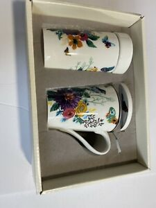 Cypress Refresh Ceramic Porcelain Tea Cup Coffee Mug with Infuser and Lid 4 Pc.