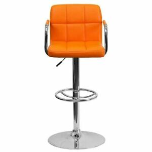 Contemporary Orange Quilted Vinyl Adjustable Height Barstool w/Arms