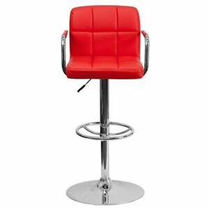 MoContemporary Red Quilted Vinyl Adjustable Height Barstool w/Arms