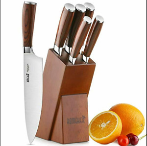 Knife Set,6-Piece Kitchen Knife Set with Wooden Block Germany High Carbon Stainl