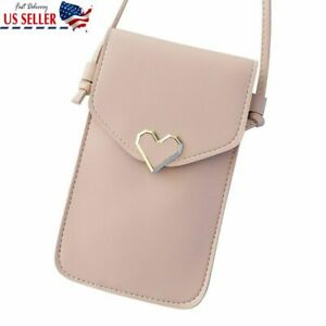 Pink Cross body Touch Screen Cell Phone Wallet Shoulder Bag Leather Pouch Case
