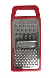Home Basics 3 Way Cheese Hand Held Flat Cheese Grater, Red