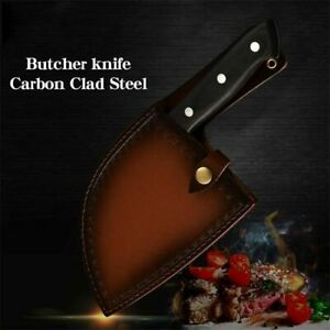 Forged Kitchen Butcher Knife Camping Full Tang Chef Knife with Sheath From USA