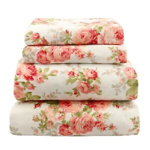 Beautiful Soft Breathable 4 pcs Bedding Sheet Set Pink amp; Peach Floral