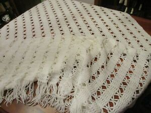 Hand made WHITE Crochet throw Blanket 97 x 60quot; w 4.5quot; fringe
