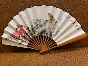 Chinese Old Paper Hand Painting Bamboo Hand Carving Folded Fan $130.00