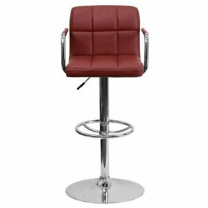 Contemporary Burgundy Quilted Vinyl Adjustable Height Barstool w/Arms
