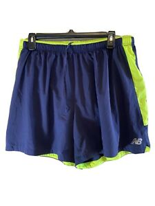 Mens New Balance DRY Running Shorts, Lined, Navy Green Size Large $22.99