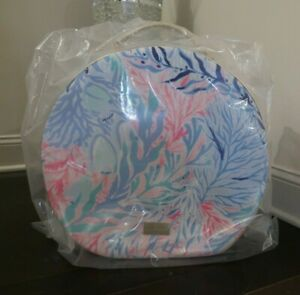 NIP LILLY PULITZER GWP BLUE KALEIDOSCOPE CORAL ROUND CARRY ON / HAT BOX