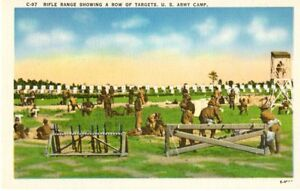 Military at U.S. Army Camp With Rifle Range amp; Targets Linen Postcard