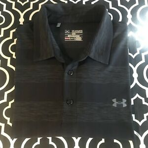 Under Armour Loose Fit polo style shirt heat gear black gray short sleeve 2XL $8.99