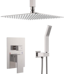 Ceiling Mounted Shower System-Brushed Nickel Shower Combo Set With 12 Inches Squ