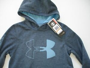 NWT Boy YSM 8 Under Armour Coldgear Hoodie Blue Gray and Lt Blue $32.55