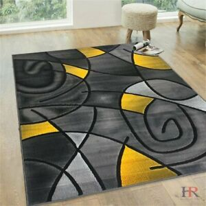 Yellow Grey Silver Black Abstract Area Rug Modern Contemporary Circles and... $94.90