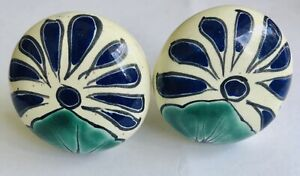 2pcs Ceramic Hand Painted Mexican Cabinet Door Cupboard Handle Pull FloraL Knob