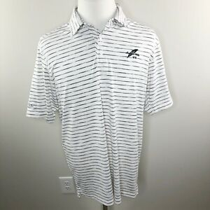 Under Armour Polo Golf White Striped Size Large Loose Indian Wells CC $15.99