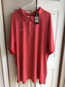 NWT Under Armour Red Golf Polo Shirt Button Up S S Heat Gear $65 Size 5XL $29.99