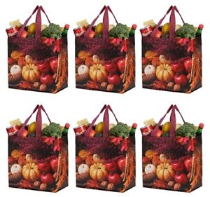 Earthwise Reusable Grocery Shopping Bags Durable Water Resistant Pack of 6