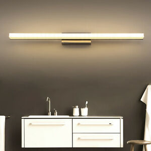 Modern Bathroom Vanity Light Stainless Steel Mirror Front Makeup LED Wall Lamp $28.78