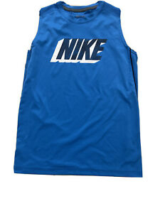 Boys Nike Dri Fit Training Blue Sleeveless Muscle T Shirt Size L. Pre owned. $7.00