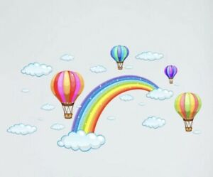"""NEW Rainbow Hot Air Balloons amp; Clouds Wall Cover Art Decor Decal Sticker 36""""x24"""""""