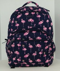 NWT Vera Bradley Essential Large Backpack FLAMINGO FIESTA Cotton Blue and Pink $94.00