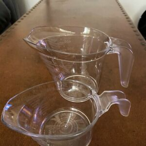 Tupperware Micro Pitcher Set Clear 1 Cup & 2 Cup Measuring Cups Microwave Safe