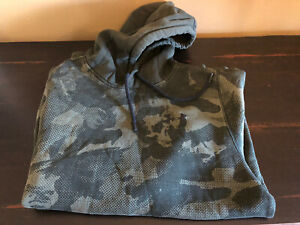 Under Armour Army Green Camo Print Camouflage Pullover Hoodie Mens Medium $3.25