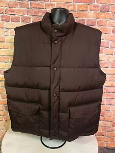 Vintage Cabelas Hunting Snap Brown Puffer Sherpa Goose Down Vest Mens Sz XL Tall