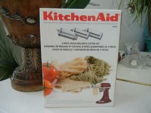 NIB KITCHENAID  3 PC STAINLESS STEEL PASTA ROLLER PASTA CUTTERS ATTACHMENT SET