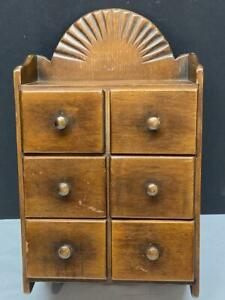 Vintage Wood 6 Drawer Kitchen SPICE CABINET Wall Mount Farmhouse $55.00
