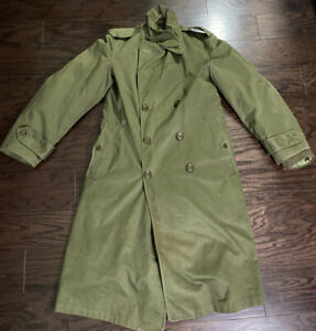 Vintage Army Military Lined Field Trench Coat Jacket Army 70s Paratrooper Mens S $61.00
