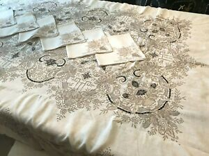 VTG Madeira Embroidery Needle Lace Cutwork Floral Linen Tablecloth 6 Nap 103x67 $495.00