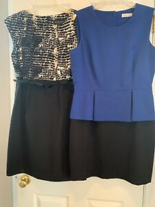 2 Designer Dresses Calvin Kline Blue black SZ12 And Connected SZ14 Professional