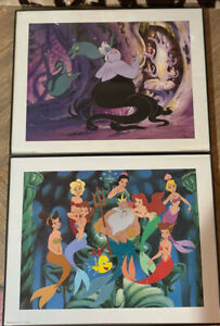 Little Mermaid Ariel LITHOGRAPH DISNEY FRAMED PICTURE PRINT pair of 2 $39.99